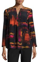 Lafayette 148 New York Samantha 3/4-Sleeve Abstract-Print Silk Blouse, Black Multi