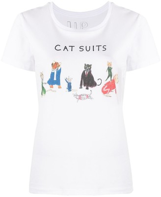 Unfortunate Portrait cats-print cotton T-shirt