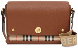 Burberry Ll Md Note Leather & Check Shoulder Bag