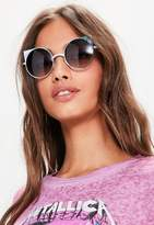 Missguided Black Cat Eye Metal Frame Rounded Sunglasses