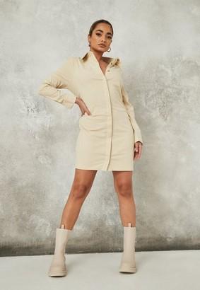 Missguided Petite Camel Shoulder Pad Shirt Dress