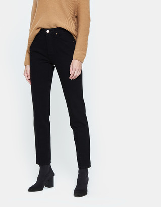 Gold Sign Women's Benefit Straight Leg Jean in Pressed Black, Size 24 | Leather