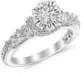 Houston Diamond District 1.59 Carat t.w. Platinum Round Designer Four Prong Pave Set Round Diamonds Engagement Ring SI2-I1