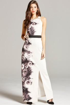 Little Mistress Black and Nude Rose Print Maxi Dress