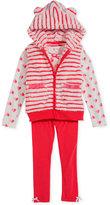 Nannette Little Girls' 3-Piece Stripes and Hearts T-Shirt, Leggings & Vest Set