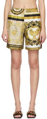 Versace White and Yellow Silk Barocco Mosaic Shorts