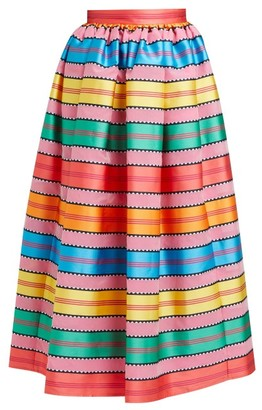 Mary Katrantzou Egret Jacquard-striped Organza Midi Skirt - Multi