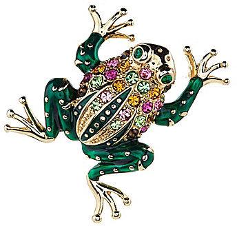 Dillard ́s Boxed Collection Multistone Green Enamel Frog Pin
