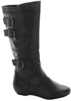 Fashion Focus Black Burnish-Buckle Nancy Boot