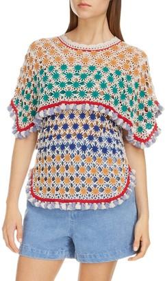 Isabel Marant Short Sleeve Multi Colored Crochet Top