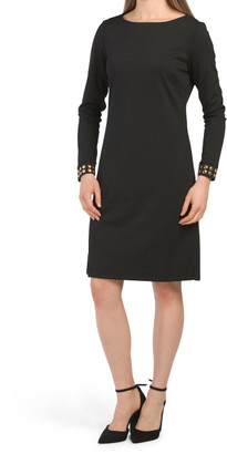 Boat Neck Ponte Dress With Studded Cuff