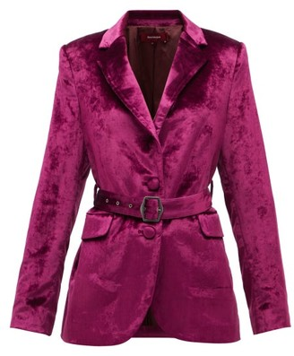 Sies Marjan Terry Single-breasted Belted Velvet Jacket - Burgundy