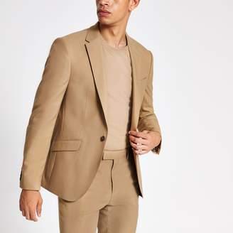 River Island Mens Camel stretch skinny suit jacket