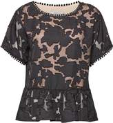 Great Plains Flora Mesh Peplum Blouse
