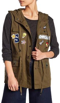 Romeo & Juliet Couture Patched Military Hooded Vest Jacket