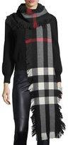 Burberry Half Mega Check Fashion Fringe Wool Scarf, Black