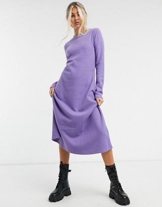 ASOS DESIGN super soft midi swing dress with long sleeve in dusty purple