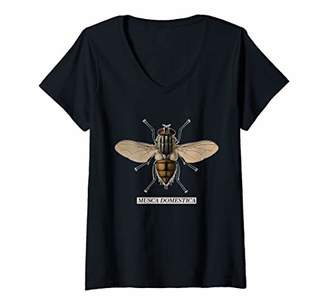 Womens Musca Domestica Housefly Scientific Name Insect Anatomy V-Neck T-Shirt