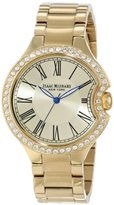 Isaac Mizrahi Women's IMN64G Crystal Case Steel Polished Brushed Link Bracelet Watch