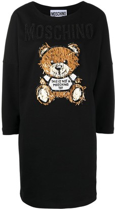 Moschino Embellished Bear-Motif Sweater Dress