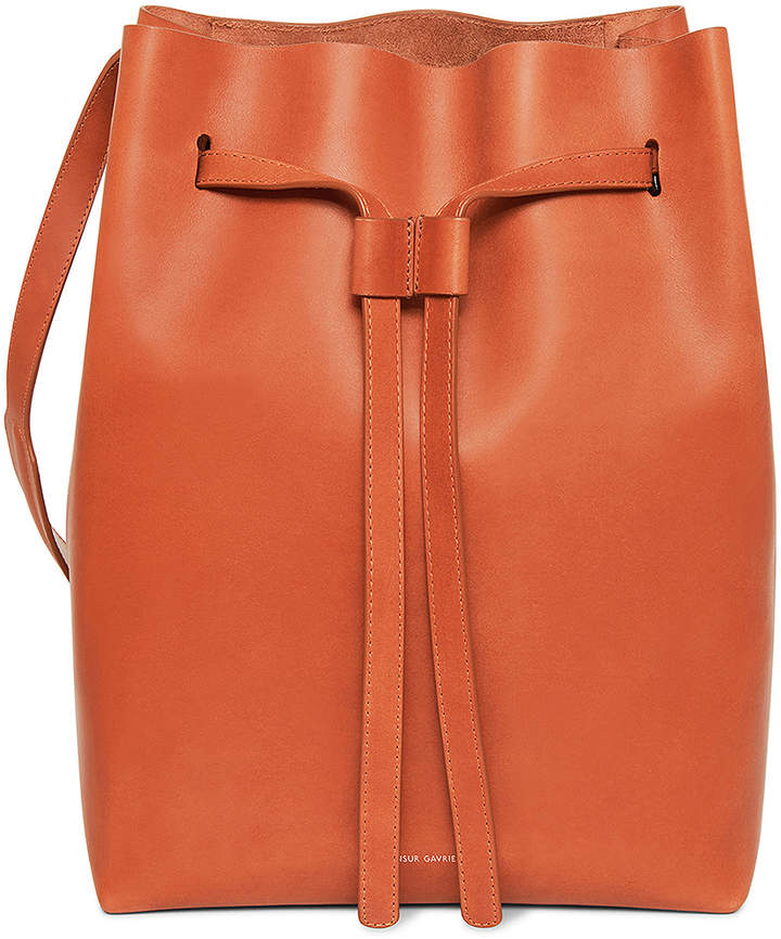 Mansur Gavriel Vegetable Tanned Drawstring Hobo in Brandy | FWRD