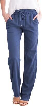 UNSKAM Ladies Jogging Sports Gym Training Trousers Women Casual Cotton Linen Drawstring Elastic Waist Long Straight Pants Jogger Sweat Jog Pants Blue