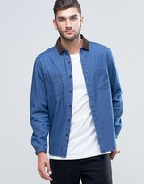 Asos Denim Overshirt With Cord Collar In Mid Wash