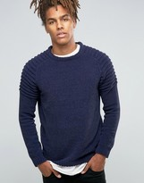 Asos Crew Sweater with Ribbed Shoulders in Chenille