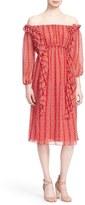 Tanya Taylor 'Daria' Floral Stripe Off the Shoulder Midi Dress