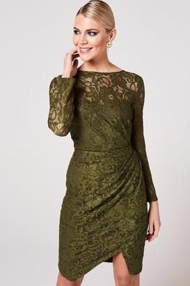 Paper Dolls Ama Olive Ruched Lace Dress