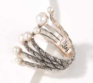 JAI Sterling Silver Ama Pearl Bypass Ring