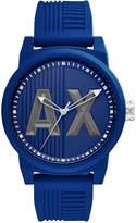 Armani Exchange Men's Blue Silicone Strap Watch 46mm AX1454