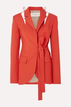 MATÉRIEL Cutout Belted Wool-blend Blazer - Red