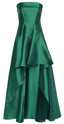 Badgley Mischka Strapless Asymmetric Pleated Faille Gown