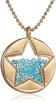 """Betsey Johnson Confetti"""" Shaky Faceted Stone Star Round Long Pendant Necklace"""