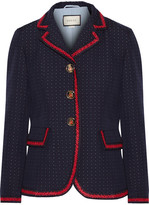 Gucci Velvet-trimmed Polka-dot Cotton And Wool-blend Blazer - Navy