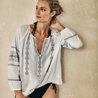 The White Company Long-Sleeve Embroidered Boho Top, White, 10