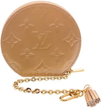 Louis Vuitton Beige Monogram Vernis Leather Round Coin Purse