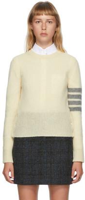 Thom Browne Off-White Shetland Wool 4-Bar Sweater