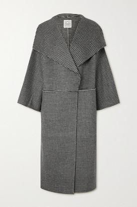 Totême Signature Houndstooth Wool And Cashmere-blend Coat - Black