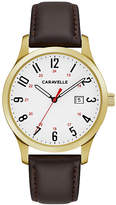 CARAVELLE Caravelle Mens Brown Strap Watch-44b116