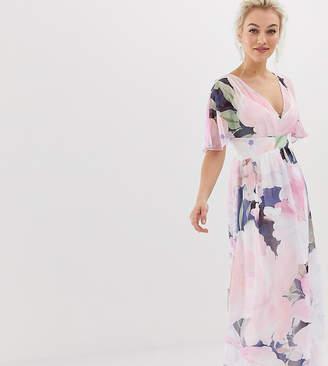 Little Mistress Petite kimono sleeve printed maxi dress-Multi