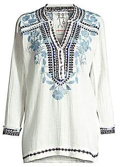 Johnny Was Women's Vedera Gauze Floral-Embroidered Boho Tunic