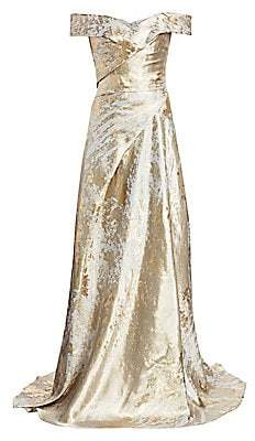 Rene Ruiz Collection Women's Metallic Off-the-Shoulder Gown