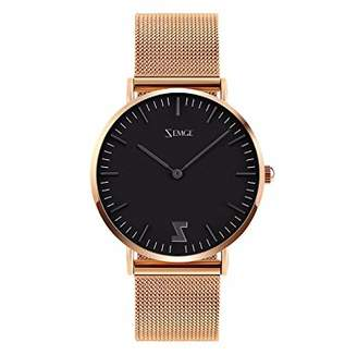 ZEMGE 36mm case Women Watches Ultra Thin Quartz Analogue Waterproof Wrist Watch Unisex Business Casual Simple Classic Design Dress Rose Gold Tone Wristwatch with Stainless Steel Case DW Style ZC0505W