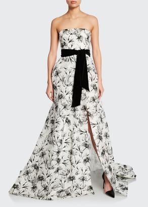 Monique Lhuillier Floral Gazar Strapless Gown