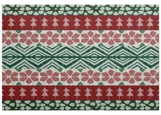 The Holiday Aisle Fair Isle Flatweave Red/Green Rug Rug Size: Rectangle 2' x 3'