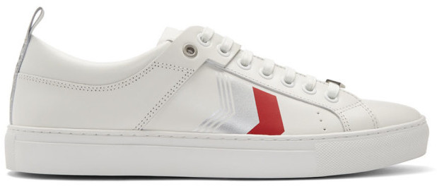HUGO Off-White Leather Chevron Sneakers