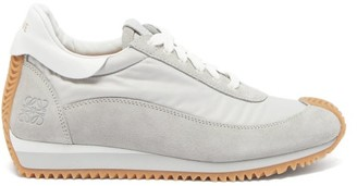 Loewe Dune Anagram-debossed Shell And Suede Trainers - Grey White