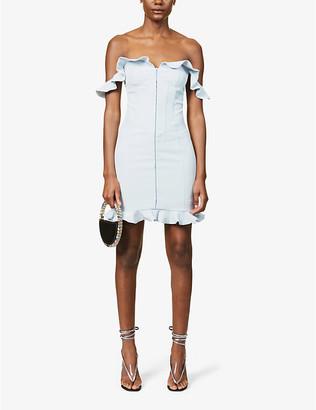 Lavish Alice Ruffle-trimmed off-the-shoulder crepe mini dress